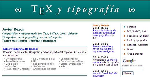 Portada del sitio Tex y Tipografía