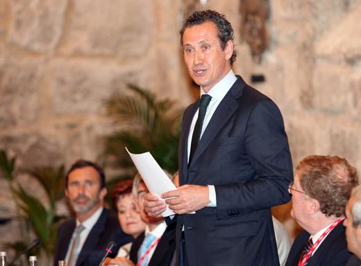 Jorge Valdano durante su intervención en la inauguración del seminario