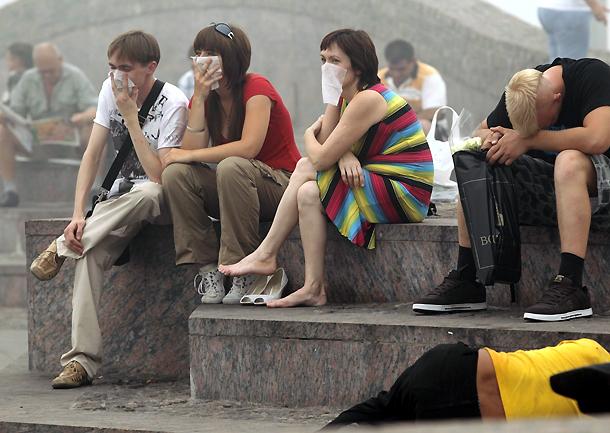 Contaminación del aire en el centro de Moscú (Rusia), por los numerosos incendios forestales (7/8/2010)