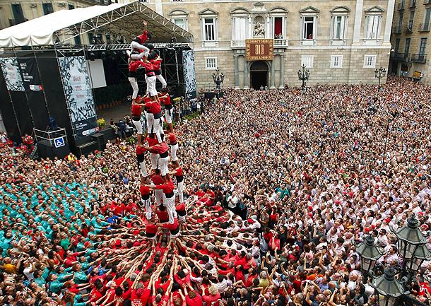 Jornada 'castellera' en Barcelona con motivo de las Fiestas de la Mercè (23/9/2012)