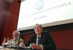 José Manuel Blecua junto a Darío Villanueva (izda.). Foto: © Agencia Efe/Chema Moya