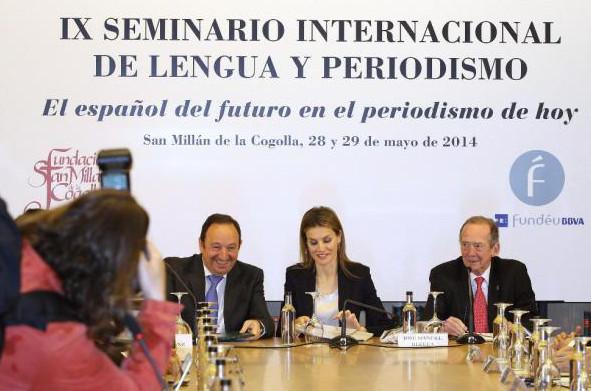 DOÑA LETIZIA, D. PEDRO SANZ ALONSO (I) Y D. JOSÉ MANUEL BLECUA (D). INAUGURACIÓN DEL SEMINARIO. Foto: ©EFE/ABEL ALONSO