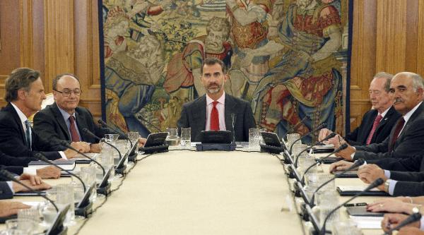 El rey Felipe VI preside la reunión del Patronato de la Fundación pro Real Academia Española. Foto: ©EFE/Alberto Martín