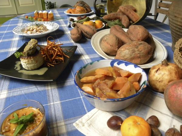 Platos elaborados con batata, en unas jornadas que se celebras en la localidad malagueña de Vélez- Málaga. ©Efe/Enrique Hidalgo
