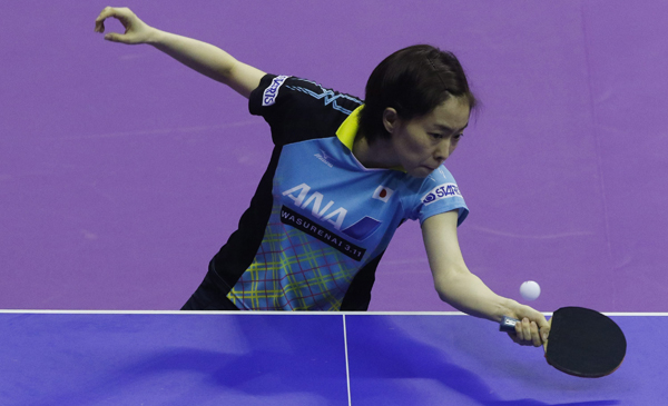 MALAYSIA TABLE TENNIS WORLD CHAM.jpg:epa05190436 Kasumi Ishikawa of Japan in action against Kristin Silbereisen (not pictured) of Germany during their Group B Championship Division Women's Teams match at the 2016 ITTF World Team Table Tennis Championships, in Shah Alam, Malaysia, 02 March 2016. EPA/AHMAD YUSNI