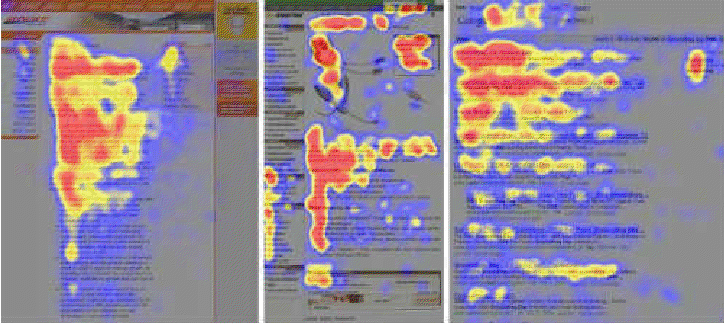 En rojo las zonas hacia las que se dirigen los ojos durante la lectura en una pantalla de ordenador