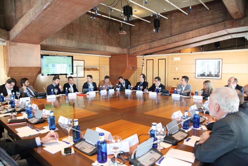 Periodistas deportivos durante la presentación de la Liga BBVA del Español Urgente.