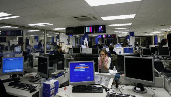 Departamento Multimedia en la actual sede central de la agencia. Foto. © Efe/José Huesca