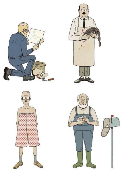 magen facilitada por la Editorial Astiberri en la que aparecen ilustraciones referidas a (de iz. a dr. y de arriba a abajo) «Montar un pollo», «Dar morcilla», «Calzonazos» y «Manda huevos».