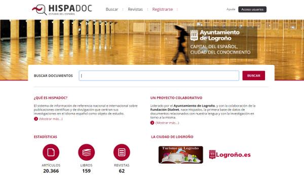 Imagen de la página principal del portal Hispadoc.