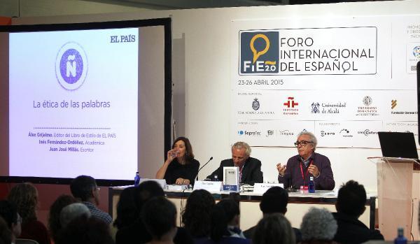nés Fernández-Ordoñez,  Alex Grijelmo (c) y el escritor Juan José Millás, durante su participación en el congreso. ©Efe/Víctor Lerena