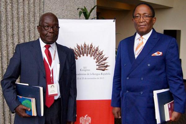 Julián Bibang (izquierda) y Agustín Nze, de la Academia Ecuatoguineana de la Lengua Española.  Foto: ©RAE